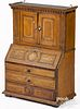 Miniature painted oak secretary desk, early 19th c