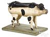 Carved and painted pig pull toy, 19th c.