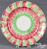 Red and green rainbow spatter plate