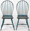 Pair of hoopback Windsor chairs, early 19th c.