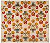 Appliqué flower basket quilt top, late 19th c.