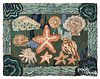 American hooked rug, 20th c., with starfish and sh