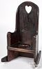 New England stained pine child's potty chair, late