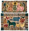 Two American hooked rugs,20th c., with rabbits and