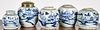 Five Chinese export blue and white ginger jars