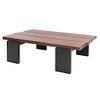 Mesa de centro. Siglo XX. Elaborada en madera. Con cubierta rectangular y soportes lisos. 41 x 138 x 91 cm