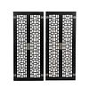 Par de puertas decorativas. SXX. Diseño calado. En madera color negro. Con aplicaciones de metal plateado. 153 x 67 x 4 cm