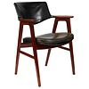 Mid-Century Modern Mahogany Arm or Desk Chair Upholstered in Black Leather