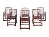 A Set of Six Chinese Hardwood Spindle-Back Armchairs, Shubeiyi or Meiguiyi