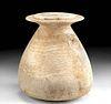 Rare Egyptian Alabaster Lidded Jar - Piriform Shape