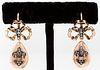 Russian 14K Rose Gold & Diamond Bow Drop Earrings