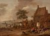 """PHILIPS WOUVERMAN (Haarlem, Netherlands, 1619 - 1668). """"Peasant scene"""". Oil on panel. Engatillada. Attached photocopy of certificate of authenticity i"""