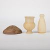 Grp: 3 Egyptian Alabaster & Pottery Vessels