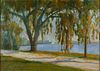 19th c. Impressionist Riverside Oil on Canvas - Signed