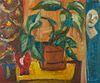 Elizabeth Grant Mask & Plants Still Life Oil on Board