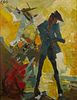 Hugo Cleis Bull Fighter Painting on Board