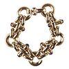18K Gold Heavy Link Bracelet w/ Colored Stones