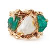 14K Gold Rough Pearl & Emerald Ring