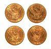 4 U.S. GOLD $5 Half Eagle Coins Liberty Head