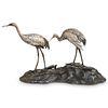 Japanese Meiji Bronze Cranes