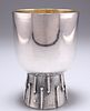 A MODERNIST SILVER-PLATED GOBLET, the rounded bowl with gil
