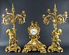 Late 19th C. French Gilt Bronze Assembled 3 Pc.