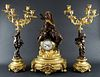 Late 19th C. French Louis XVI Gilt and Patinated Bronze