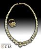 Magnificent Diamond & 18K Gold Necklace and Ring set