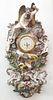 German Polychrome Decorated Porcelain Wall Clock, Circa