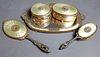 19th C. French Enamel and Bronze 5 Pc. Vanity Set