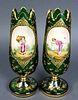 Pair of 19th C. Bohemian Vases
