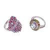 Dos anillos con aguamarinas, rodolitas y turmalinas en plata .925.