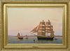 """William R. Davis Oil on Canvas """"Whaleship Three Brothers Arrives at Nantucket, 1854"""""""