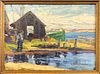 """Anne Ramsdell Congdon Oil on Board """"The Doris Docked at Petral Shack, Nantucket"""""""