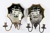 Pair of Etched Mirror-back Two-light Sconces, circa 1880