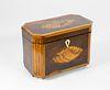 British Regency Mahogany and Maple Inlaid Tea Caddy, circa 1820