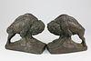 Pair of Joza Krupka Bronze-Clad Bison Bookends, circa 1914