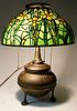 Tiffany Studios Daffodil Leaded Glass Shade on Patina Bronze Two-Part Base