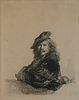 """After Rembrandt Harmenszoon Van Rijn Etching on Paper """"Self-Portrait Leaning on a Stone Sill"""""""