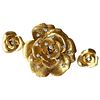 Cartier 18K Gold Diamond Rose Flower Brooch and Earrings Set