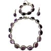 Rare Antonio Pineda Sterling Silver Amethyst Mexican Modernist Jewelry Suite