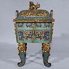 Large Chinese Cloisonne Enameled Covered Censer