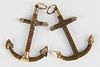"""Two Antique Sailor Made """"Forget Me Not"""" Anchor Pendants, 19th Century"""