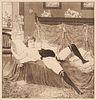 Bayros, Franz von Set aus zwei erotischen Graphiken: Die Pfauenfeder u. Minie. Um 1907. Je Aquatinta-Radierung auf chamoisfarbenem, unbeschnittenem Bü