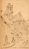 Lambert, André Album mit handschriftlichen Mémoiren und 20 Original-Zeichnungen. 1910-1961. 4°. Reich blindgeprägtes Schweinsleder aus dem 16. Jh. übe