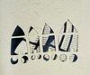 Flau, Tina Reisen der Städte. Mit Zitaten aus Cyrano de Bergerac: Mondstaaten und Sonnenreiche, 1657. Mit 7 Or.-Papierschnitten. 7 S. Text (dreisprach