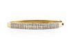 14KT YELLOW GOLD MICRO PAVE DIAMOND BANGLE