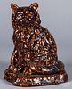 Large Bennington type seated pottery cat, 20th c.