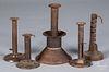 Five tin candlesticks, 19th c.