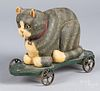 Carved and painted folk art cat pull toy